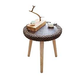 Jcnfa-Tables Table D'appoint en Bois Massif, Table Basse Ronde, Table D'appoint du Balcon du Salon, Métier De Rotin…