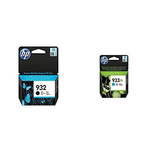 HP 932 CN057AE, Negro, Cartucho de Tinta Original + 933XL CN054AE, Cian, Cartucho de Tinta de Alta Capacidad Original, compatible con impresoras de inyección de tinta