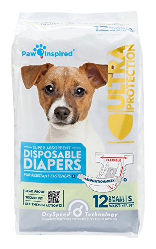 Paw Inspired Disposable Dog Diapers | Female Dog Diapers Ultra Protection | Diapers for Dogs in Heat, Excitable Urination, or Incontinence (12 Count, Small)