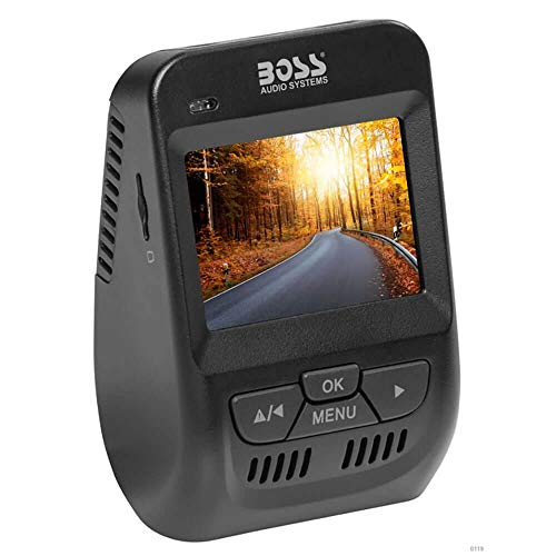 BOSS Audio Systems BCAM70 Dual Car Dash Cam - 2.4 Inch LCD Screen, Full HD 1080P Front & Rear, 150° Wide Angle Recording, G-Sensor, WDR Night Vision, Motion Detection