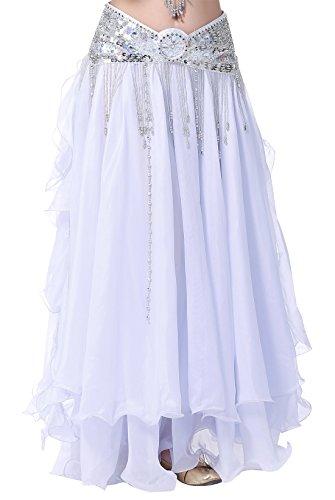 BELLYQUEEN - Falda de Danza de Vientre para Mujer Cintura Elástica sin Cinturón Falda Latino Flamenco Elegante Disfraz de Baile Atractivo - Blanco