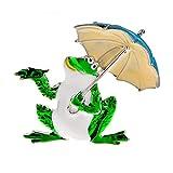 SHUJIA Tomando broches de Rana Paraguas para Mujer Unisex Encantador de Esmalte Lindo Animal Partido Oficina Brooche Pins Regalo