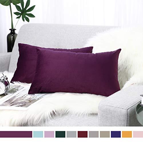 "Lewondr Velvet Throw Pillow Case, 2 Pack Soft Solid Color Modern Square Pillow Case Throw Cushion Covers for Car Sofa Bed Home Decor, 12""x20""(30x50cm), Aubergine"