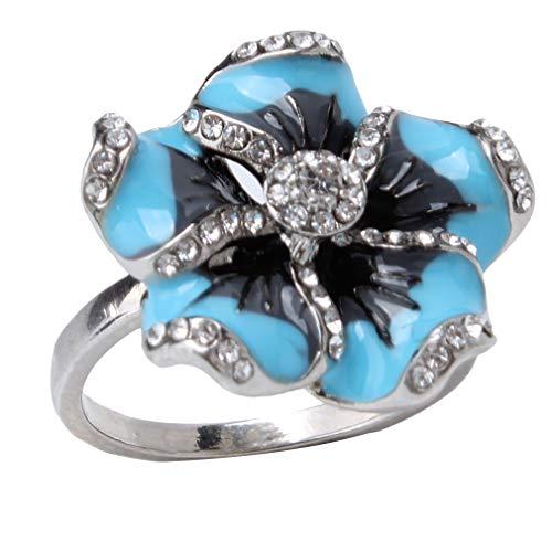 WEIHEEE Große Blume Ring Exquisite Diamantbesetzte Hochzeit Engagement Braut Ring Zubehör, 9