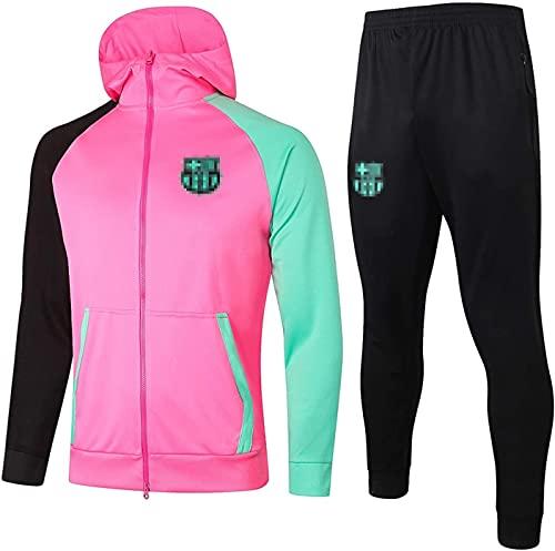 KMILE Bǎrcělǒnǎ Fútbol Oficial de fútbol Jerseys de fútbol con Sudaderas Conjunto de fútbol Capacitación Capacitación Sportswear Chaqueta Pantalones Pantalones Set, Rosa (Color : Pink, Size : XXL)