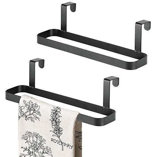 mDesign - Handdoekenrek in 2-delige set - voor keukenhanddoeken en theedoeken - robuust/bevestiging zonder boren/bevestiging aan kastdeurtjes/metaal - zwart
