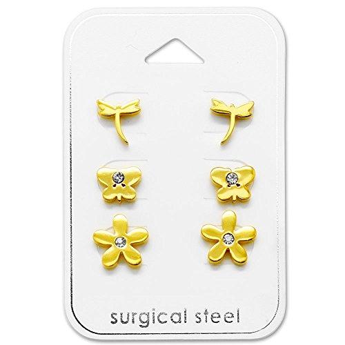 TATA Gisele Set di 3paia di orecchini in acciaio 316L dorato e cristallo–Libellula/farfalla/fiore