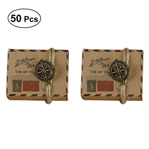 LUOEM Cajas temáticas del favor de la boda del favor del viaje Cajas del favor del diseño del correo aéreo inspirado del vintage con el globo Cajas del convite del papel de Kraft Favores de la boda Cajas de regalo, paquete de 50
