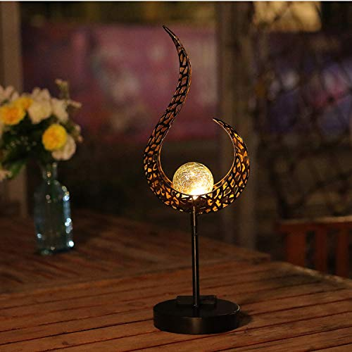 HDNICEZM Garden Solar Table Lights Outdoor Flame Shape Crackle Glass Globe Vintage Metal Lights,Waterproof Warm White LED for Lawn,Patio or Courtyard (Bronze)