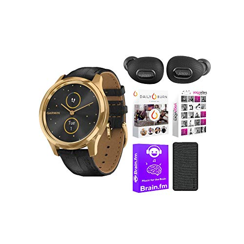 Garmin vivomove Luxe Hybrid Smartwatch (24K Gold PVD with Black Embossed Band) Performance Bundle (4 Items)