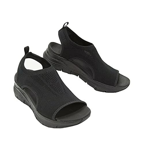 Sandalias ortopédicas lavables del deporte de la diapositiva de la tira trasera del verano, sandalias lavables del deporte de la tira trasera de las señoras (negro, 35,5)