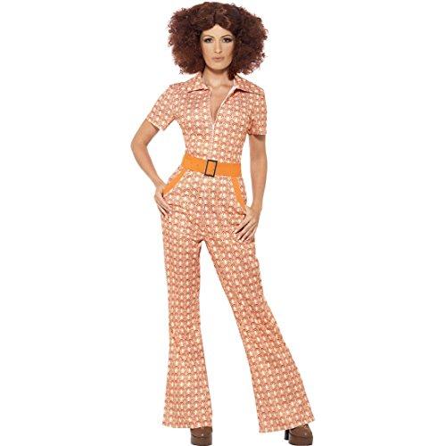 Amakando 70er Jahre Overall - S (34/36) - Retro Damenkostüm Siebziger Schlagermove Outfit Einteiler Flower Power Anzug mit Schlaghose Hippie Vintage Jumpsuit