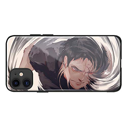 Obito Uchiha Akatsuki Naruto Sharingan Manga Giapponese Anime Temperato Vetro Morbido Silicone Casi Del Telefono Cover Shell (AE6501, iPhone 7/8/SE (2020))