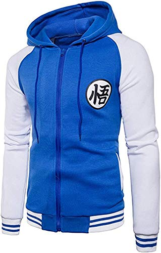 ZYLDWY Men Dragon Ball Goku Langarm-Bomberjacke Mit Durchgehendem Reißverschluss Und Kapuze,H-M