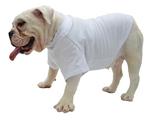 Lovelonglong Bulldog Clothes Dog Clothing Blank T-Shirt Tee Shirts for French Bulldog English Bulldog American Pit Bull Pugs 100% Cotton Skin Care White B-XL