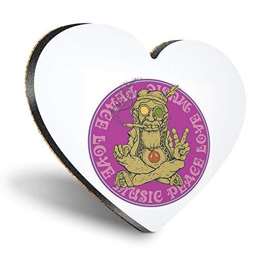 Posavasos de madera MDF con forma de corazón – Peace Love Music Marihuana Weed | Posavasos de calidad brillante | Protección de mesa para cualquier tipo de mesa #6033