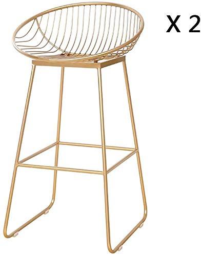 QTQZDD decoratieve bank in Scandinavische stijl barstoel, creatief goud kledingwinkel ijzeren kunstbank kruk barstoel stoel ijzer wire computer stoel ligstoel barkruk 75 cm, ijzer, goud 1 1