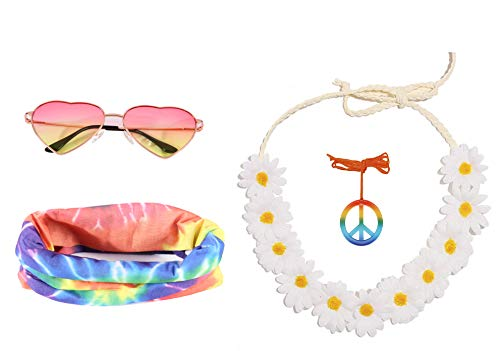 Seawhisper Hippie Accessoires 70er 80er 90er Jahre Kleidung Damen Brille Kette Sonnenbrillen Haarband Schmuck Ohrringe Flower Power Abba Kostüm