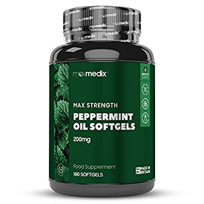 Peppermint Oil Softgels - 200mg Capsules Servings, 6 Month Supply for Fast Stomach & Bowel Relief, Essential Stomach Bloating Pills, High Strength Pills, Best Probiotic for Men & Women - 180 Softgels