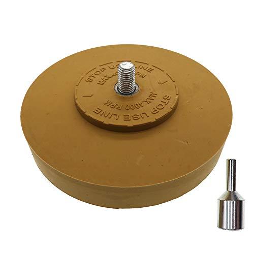 XKMY Rueda de goma de 4 pulgadas para adhesivo, pegatina, Pinstripe, calcomanía y removedor de gráficos, con adaptador de taladro de vástago de 1/4 pulgadas