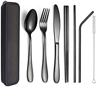 Reusable Stainless Steel Utensils Tableware Set, Portable Cutlery Set Rose Gold Outdoor Camping Dinnerware Set With Box (C...