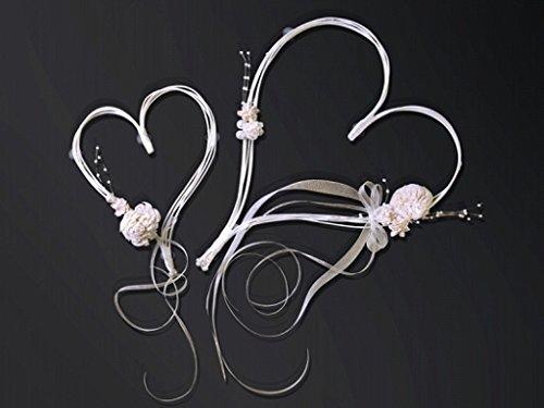 Autoschmuck Hochzeit Rattanherz mit Blumen (crèmefarben)