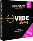 Vibe Strings - Acoustic Guitar Strings, 80/20 Coated, Light .011-.050, 3 Sets + String Change Tools