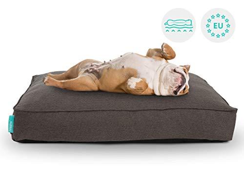 Hyggins Lounger Plus Hundekissen | orthopadisch, Bezug abnehmbar | Boden wasserabweisend (L 113 x 68cm, Dunkelgrau)