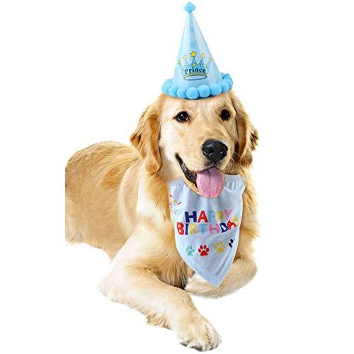 Bello Luna Buon Compleanno Bandana Sciarpe e Cappello Carino Partito per Cani Pet Decorazioni Regalo di Compleanno Set - Blu