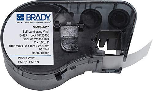 Brady - 143271 M-33-427 Vinyl B-427 Black on White/Clear Label Maker Cartridge, 4 Width x 1-1/2 Height, For BMP51/BMP53 Printers