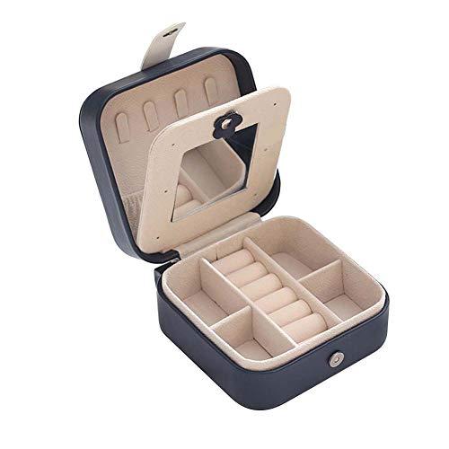 Kalaokei Caja de almacenamiento de joyas de cuero pequeño, bolsa de viaje, portátil, de piel sintética, aretes, anillos, caja de almacenamiento, contenedor azul marino