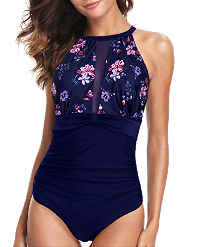 Holipick Women Blue Purple Flower One Piece Swimsuit Tummy Control High Neck Halter Swimsuits Mesh Bathing Suit M