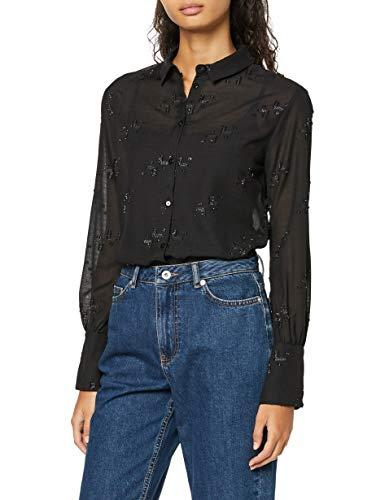 Amazon-Marke: find. Damen Hemd mit Metallic-Detail, Schwarz (Black), 38, Label: M