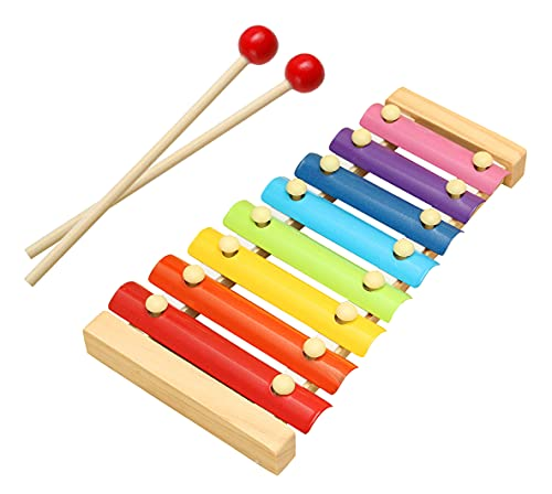 woodykraft wooden xylophone musical toy for children with 8 note (big size) – pack of 1- Multi color