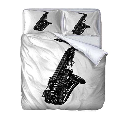 zzqxx Home Superking Duvet Cover Set Musical instrument Bed Set Quilt Cover with Zipper Soft 100% Polyester Includes 2 Pillow Cases 3D Printed Bedding for Boys Girls Adults 260x220cm