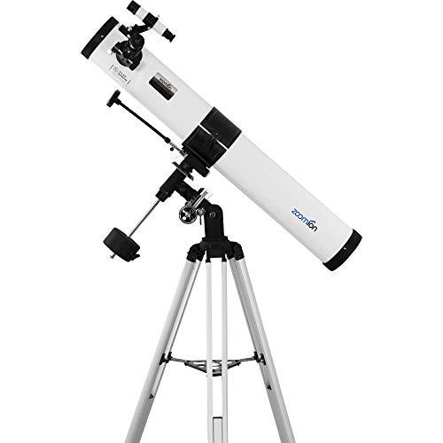 Zoomion Voyager 76/900 EQ Reflector telescopio - Juego de telescopio astronómico con trípode, Montura y oculares para niños y Principiantes