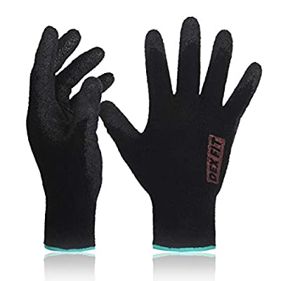 DEX FIT Warm Fleece Work Gloves NR450, Comfort Spandex Stretch Fit, Power Grip, Thin & Lightweight, Durable Water-Based Nitrile Rubber Coating, Machine Washable, Black Small 3 Pairs