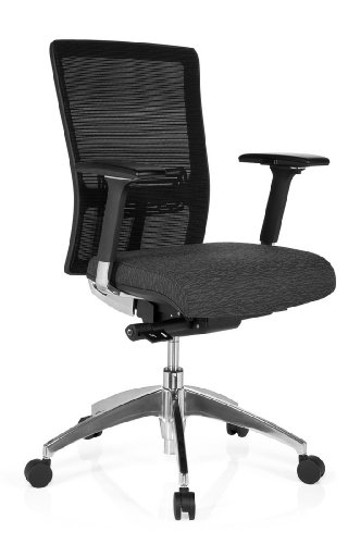 HJH Office Bürostuhl Chefsessel ASTRA BASE Netzstoff Stoff grau-braun, extrem stabiler Polsterstoff, Beinfreiheit durch Schiebesitz, Drehstuhl ergonomisch, verstellbare Armlehnen, Schreibtischstuhl