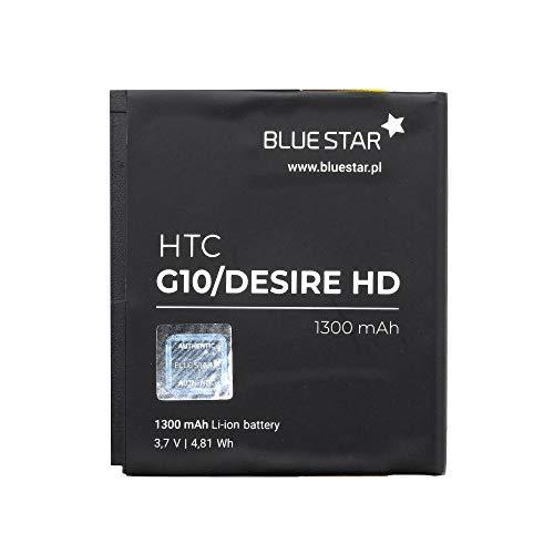 Blue Star Premium - Li-Ion Lithium Akku 1300 mAh Kapazität Schnellladung 2.0 Kompatibel mit dem HTC sire HD / G10