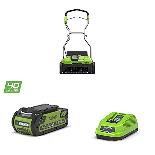 Greenworks Cordless Scarifier G40DT35 (Li-Ion 40 V 35 cm Working Width 3600 RPM 20 Steel Tines with Depth of 1 cm 20 L Grass Bag with 2.5 Ah Battery and Charger)