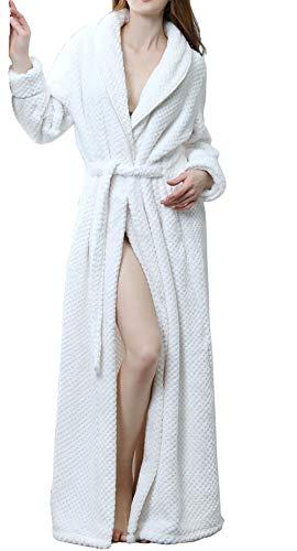 Bademantel Damen Herren lang Sauna-Mantel Frottee Baumwolle Morgen-Mantel Damen-Bademantel Herren-Bademantel Weiß L