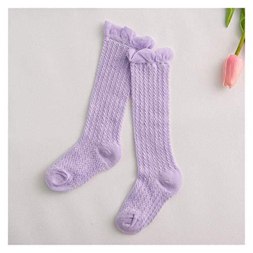 Taoyouzj Calcetín Calcetines de niña niños de algodón de Malla de algodón Calcetines Transpirables de la Rodilla de Las Chicas Altas Calcetines Calcetines Calcetines (Color : Purple)