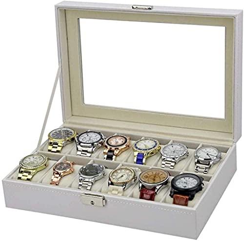Bella Organizador de la caja de la caja de pulsera 12 ranuras Organizador de la caja de cuero PU con el compartimiento de la joyería para el almacenamiento y la exhibición de la joyería Pulsera Colecc