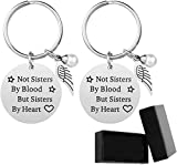 Personalised Best Friend Keyring 2 Pcs, Key Chain Engraved Not Sisters by Blood But Sisters by Heart Charm Pendant, Stainless Steel Silver Keychain Rings as Birthday Friendship Gifts for Women Girls