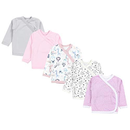 TupTam Baby Mädchen Langarm Wickelshirt Baumwolle 5er Set, Farbe: Mehrfarbig 9, Größe: 50