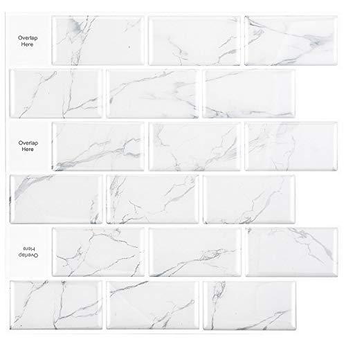 HomeyMosaic 3D Fliesenaufkleber Selbstklebende, Fliesensticker Aufkleber Küchen Fliesen für Bad 30 x 30cm(Marmor weiß, 5er-Set)