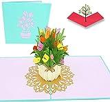 PopLife Cards Spring tulip flower bouquet 3d popup tarjeta de felicitación para todas las ocasiones tarjeta del día de la madre, jardín de primavera, tarjeta de aniversario