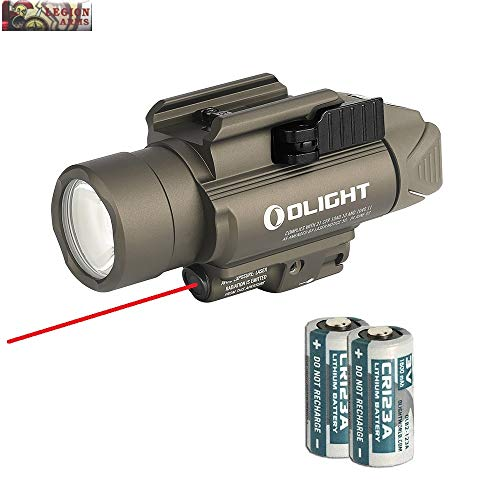 OLIGHT Baldr RL Red Laser and LED Weaponlight Combo (Class IIIA <5mw Safe Laser Output), 1120 Lumen LED Flashlight, Quick Release Mount, 2 x CR123A Batteries (Desert Tan)
