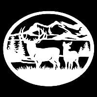 バンパーガラスステッカー 30.5 X 25.3CM鹿野生動物の風景楕円形の車の形のステッカー車のステッカーとデカール (Color : White)
