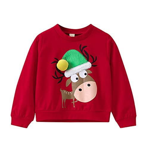 K-youth Sudadera para Niñas Niños Ropa Recién Nacidos Bebé Niño Navidad Elk Sudadera Niños Sweat Shirt Ropa Bebe Niña Otoño Invierno Blusas Bebe Niño Tops(Rojo, 7-9 años)